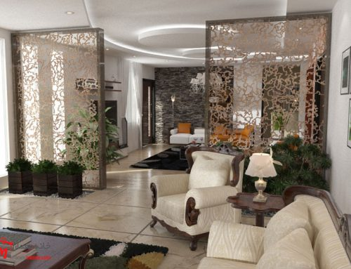 طراحی دکوراسیون هال و پذیرایی منزل خیابان مولوی