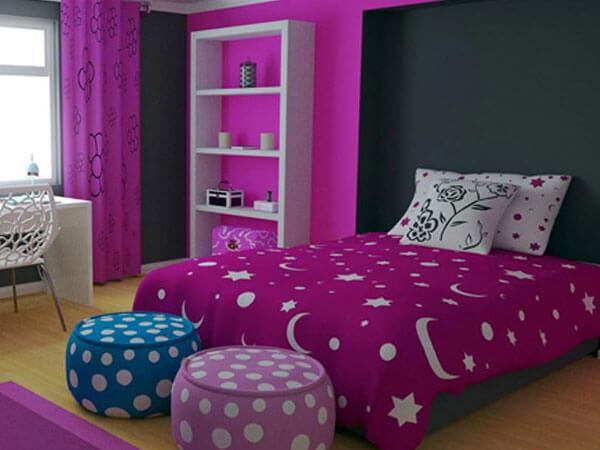 رنگ بنفش در دکوراسیون اتاق خواب دخترانه رنگ بنقش در اتاق خواب