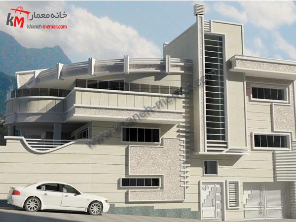 پلان سه طبقه بتنی نمای ساختمان مدرن