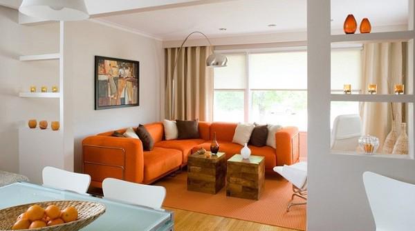 رنگ کوسن در مبلمان انتخاب کوسن برای مبل نارنجی