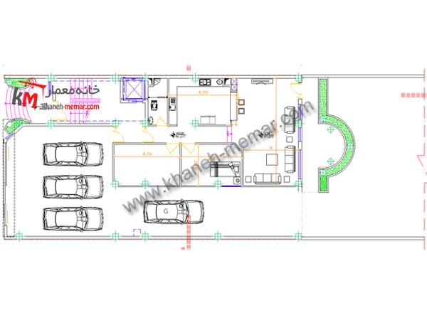 نقشه معماری طراحی پیلوت و پارکینگ