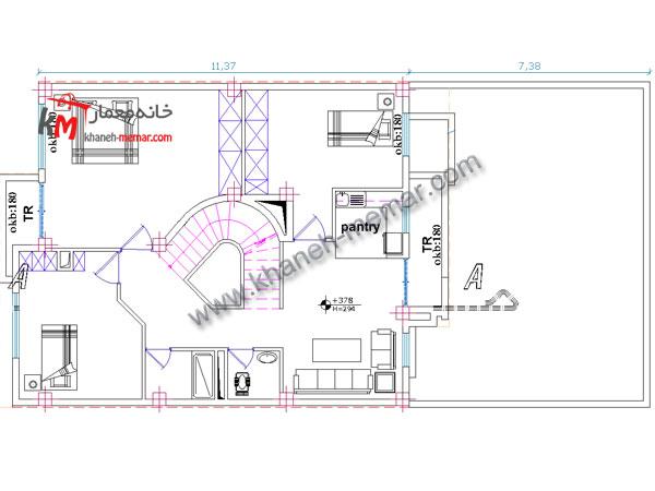 معماری نقشه ساختمان طبقه دوم
