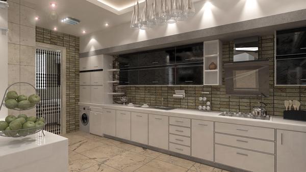 طراحی دکوراسیون آشپزخانه با کابینت رنگ سفید