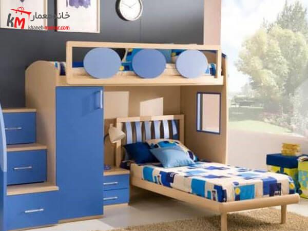 دیزاین اتاق کودک با تم آبی رنگ در دکوراسیون اتاق خواب پسرانه