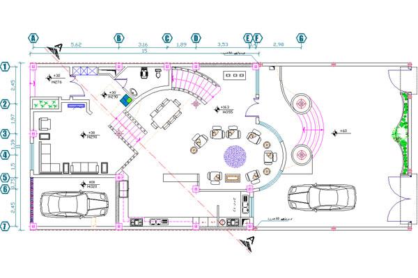 طبقه همکف نقشه ساختمان دوبلکس