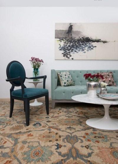 دکوراسیون با ست آبی Relief sofa مبل های پارچه ای