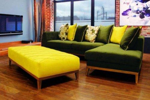 دکوراسیون داخلی با ترکیب مبلمان زرد و سبز