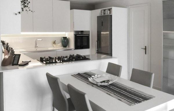 آشپزخانه با کابینت رنگ روشن