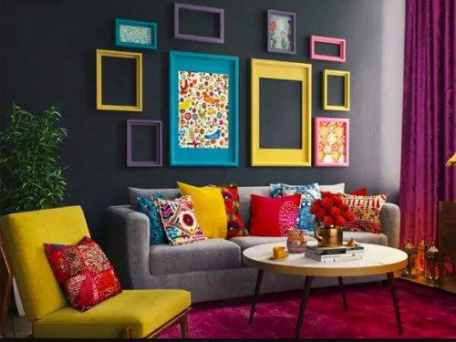 کوسن های رنگی در مبلمان برای دکوراسیون منزل