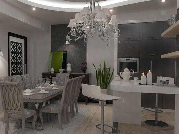 میز نهاهار خوری در کنار آشپزخانه