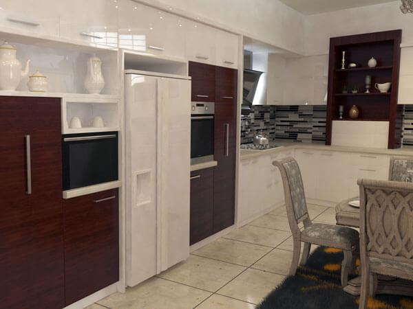 کابینتهای آشپز خانه ترکیب زرشکی و سفید