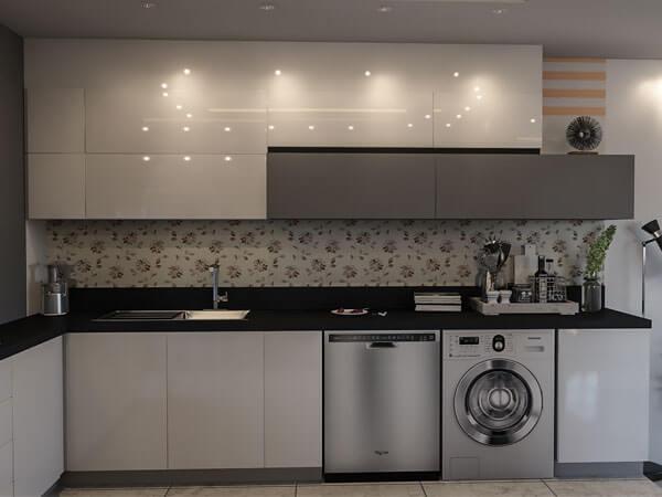 آشپزخانه با نور پردازی کابینتها