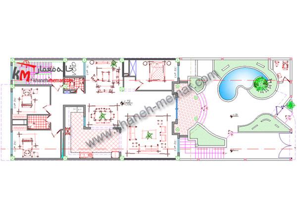 پلان مسکونی معماری طبقه همکف