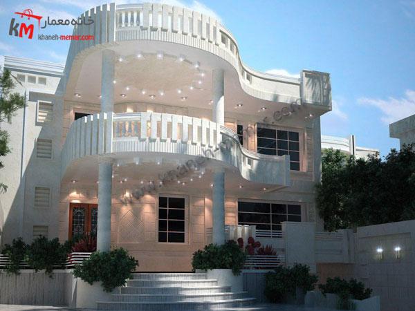 نمای ساختمان سه طبقه نئوکلاسیک سنگی