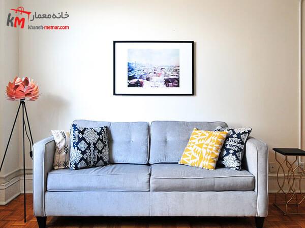 آبی روشن با کوسن های طرح دار Relief sofa مبلمان فلزی و چوبی