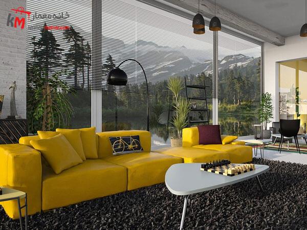 مبل راحتی زرد رنگ مبلمان فلزی و چوبی برای منازل سبک مدرن