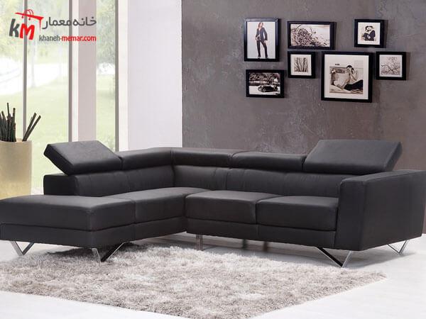 مبلمان تیره ال شکل Relief sofa مبلمان فلزی و چوبی