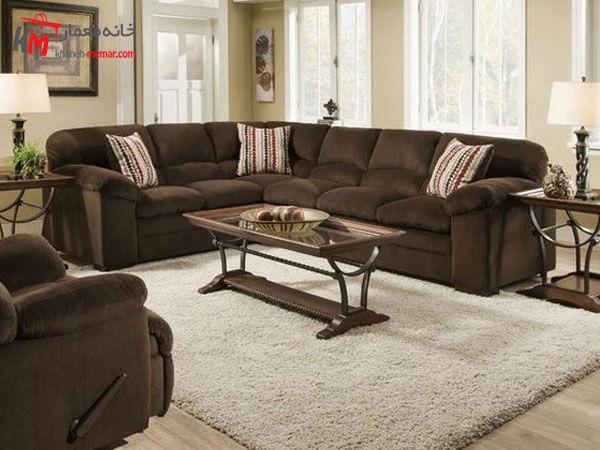 مبلمان قهوه ایی در دکوراسیون Relief sofa مبلمان فلزی و چوبی