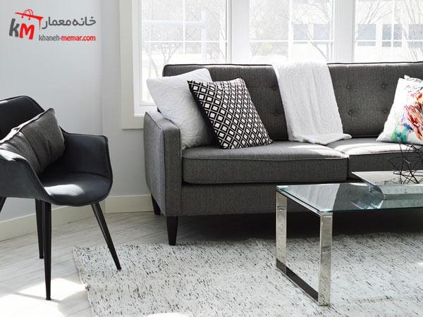 ست تیره و روشن مبلمان Relief sofa مبلمان فلزی و چوبی