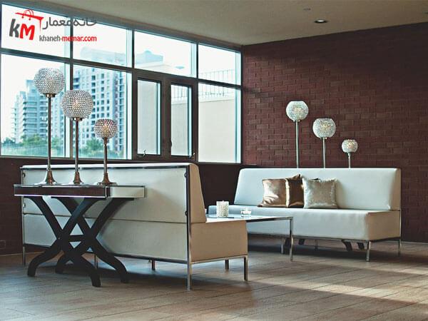 ست سفید با پایه های فلزی Relief sofa مبلمان فلزی و چوبی