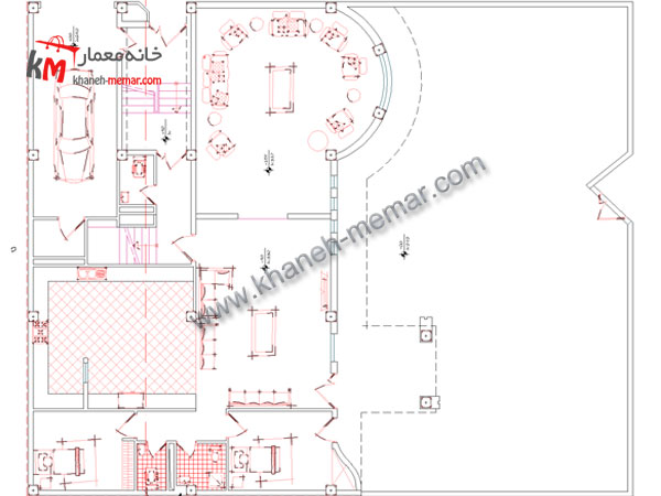 نقشه پلان ویلایی طبقه همکف