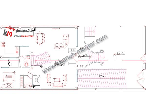 نقشه معماری منزل طبقه همکف