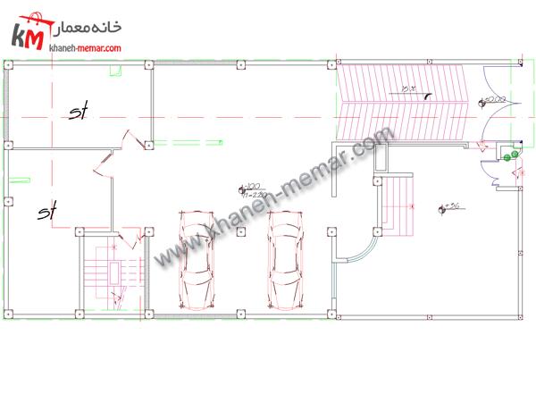 نقشه اتوکد ساختمان طبقه زیرزمین