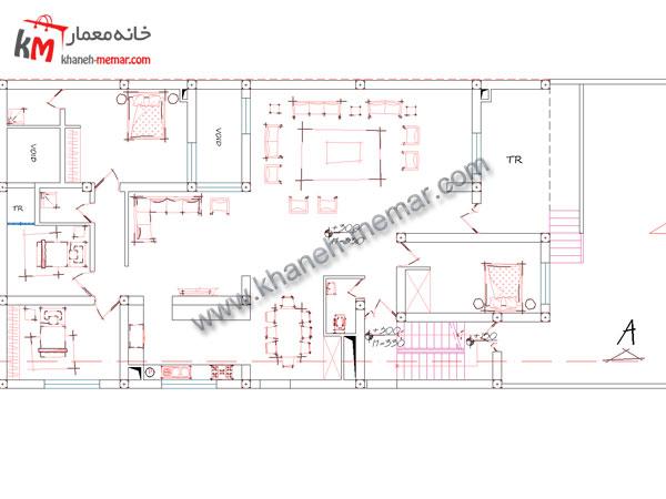 نقشه خانه دو طبقه طبقه اول