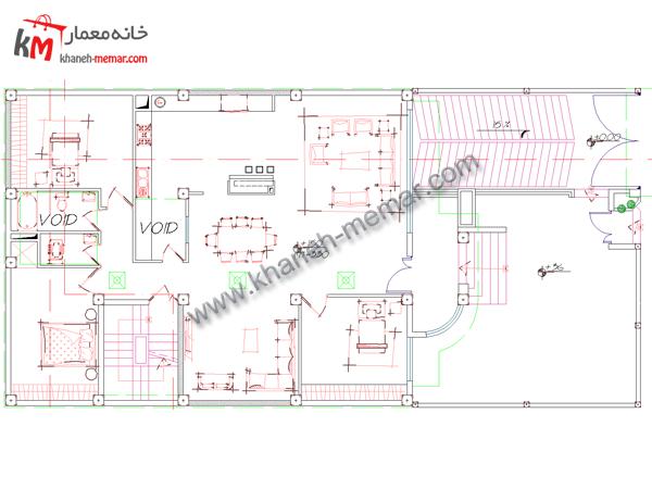 نقشه اتوکد ساختمان طبقه همکف