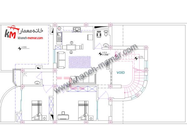 طبقه اول خانه دوبلکس سه خوابه