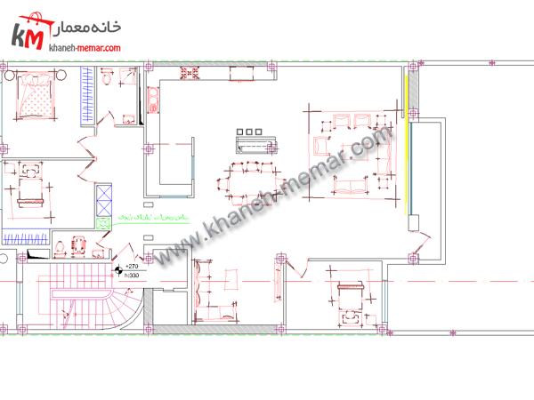 نقشه اتوکد پلان معماری طبقه اول