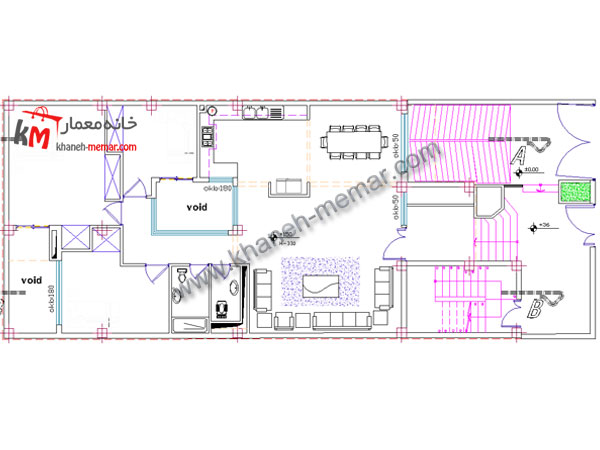 نقشه ساختمان سه طبقه بتنی