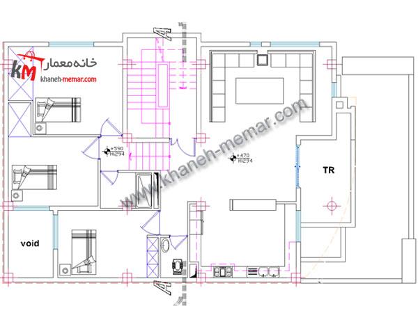 پلان آپارتمان 2 واحدی