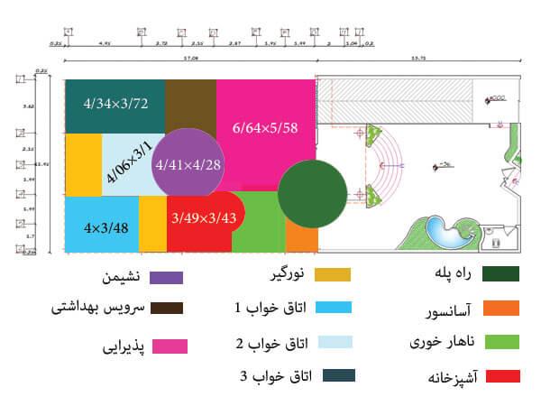 نقشه ریز فضاخای پروژه 484