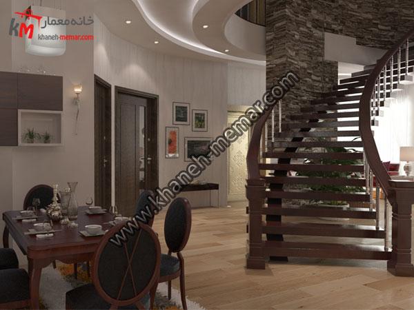 نمای پله های دوبلکس به طبقه اول