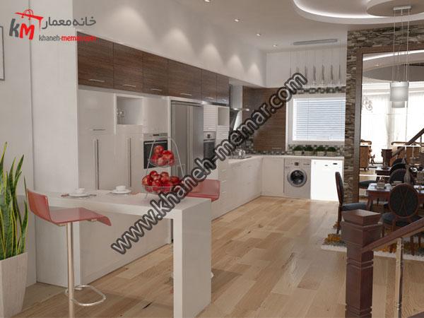 نمایی زیبا از طراحی کابینت ها و اشپزخانه