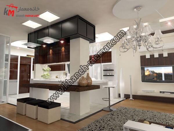 فضای طراحی شده جلوی آشپزخانه