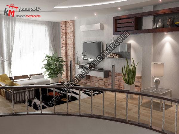 طبقه بالای پلان مسکونی دوبلکس دوبلکس و میز تی وی