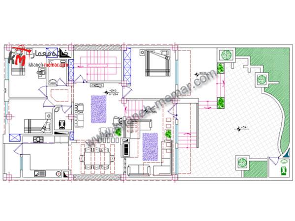 طراحی نقشه ساختمان مسکونی دو واحدی
