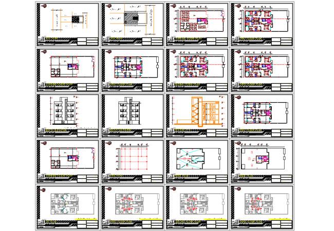شیت بندی نقشه خانه 4 طبقه