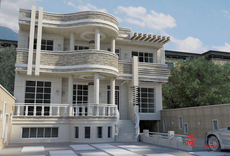 نمای خانه دوبلکس با متریال سنگ سبک نئوکلاسیک