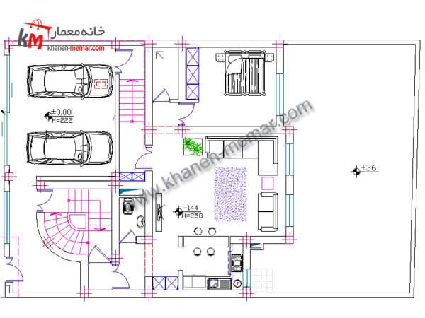 نقشه خانه دوبلکس نما طراحی آپارتمان مسکونی 02-1-327