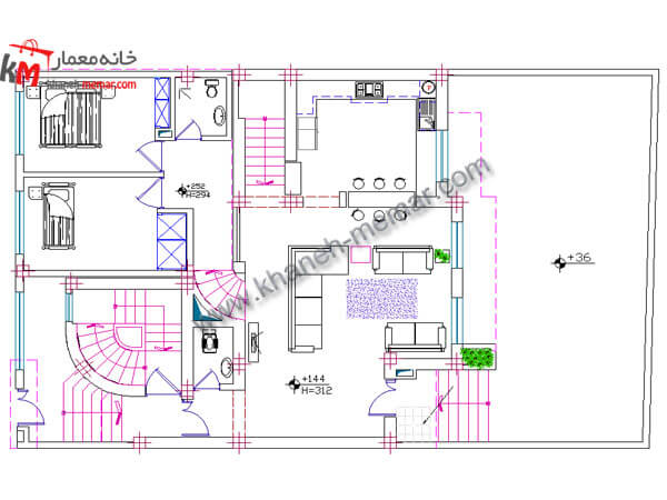 نقشه خانه دوبلکس نما طراحی آپارتمان مسکونی 03-1-327