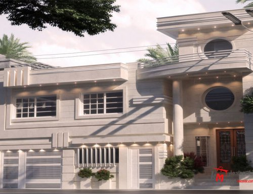 طراحی نمای خانه با سنگ  یکدست سفید 60