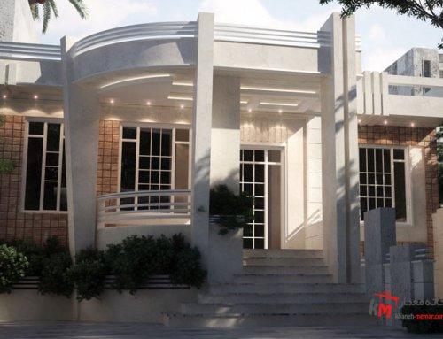 طراحی نمای ساختمان تلفیقی از سنگ سفید عباس آباد و آجر 62
