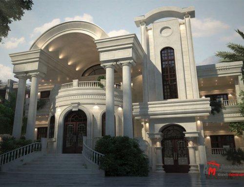 طراحی نمای کلاسیک از سنگ سفید عباس آباد 63
