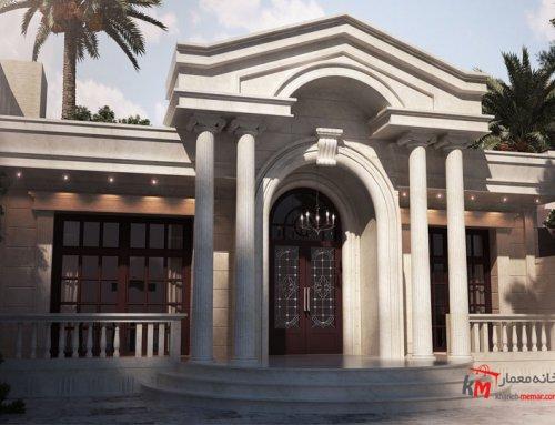 طراحی نما با ستون رومی از سنگ سفید عباس آباد ۶۵