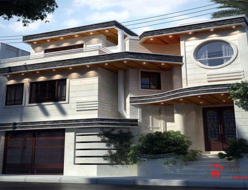 طراحی نمای شمالی خانه از سنگ و آجر 66