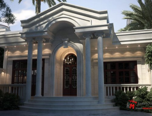 طراحی نما سبک کلاسیک مزین با ستون های رومی از سنگ سفید عباس آباد 67