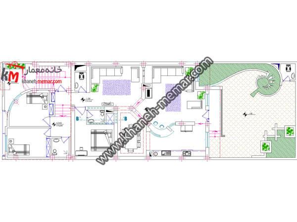 پلان ویلایی مدرن سه طبقه-3-354